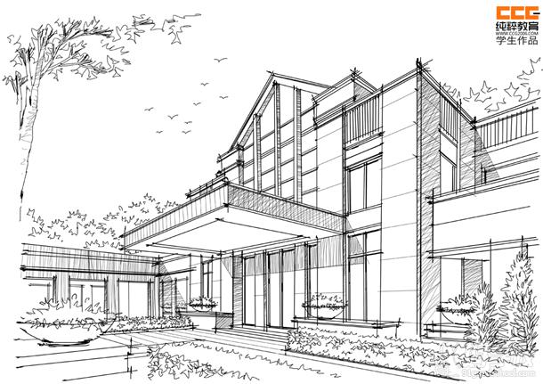 纯粹手绘教育最新建筑学生新作