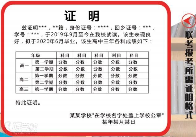 广外华侨港澳台联考培训中心(广州侨诺教育)  报考证明样式展示