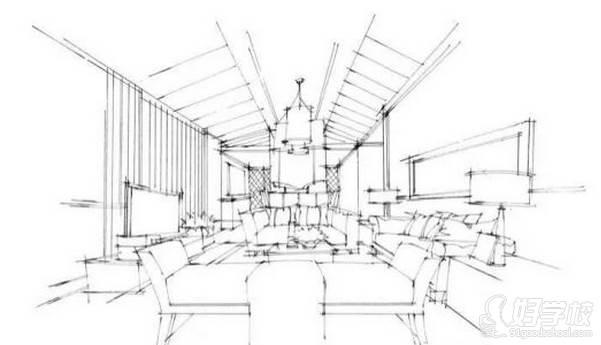 广州量宅定制设计教育  手绘步骤-线稿