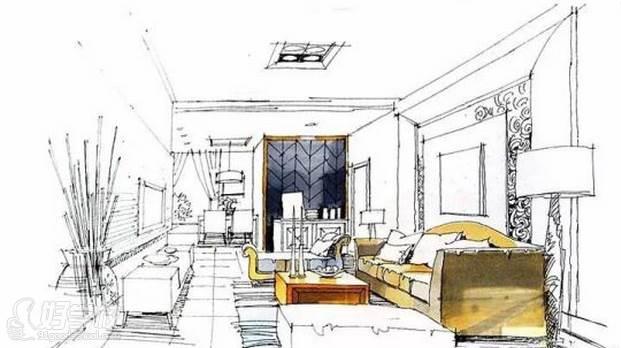 广州量宅定制设计教育  手绘空间色彩添加