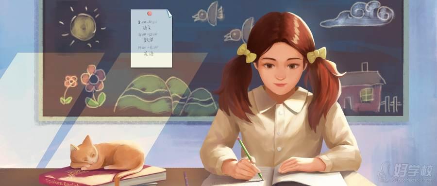 摄图网_400073540_wx_女孩在教室学习(企业商用)